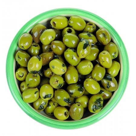 Olives fresh basil, garlic and olive oil 125  gr