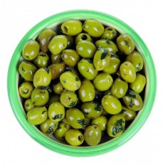 Olives fresh basil, garlic and olive oil 125  gr