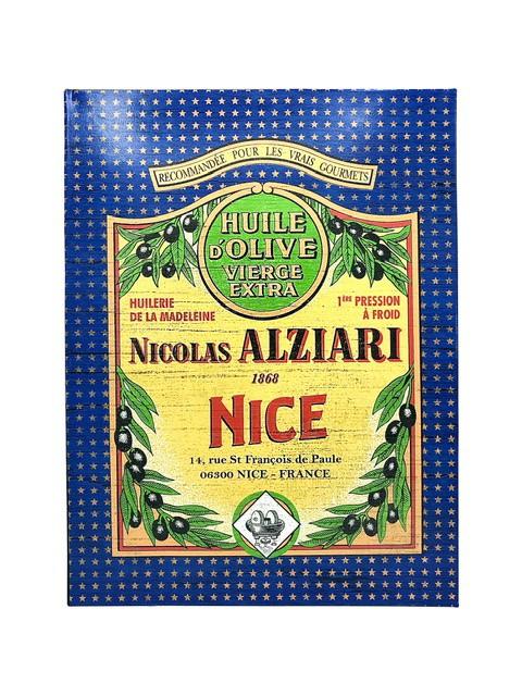Plaque murale vintage Huile d'olive Nicolas Alziari Nice 25X33 cm (métal)
