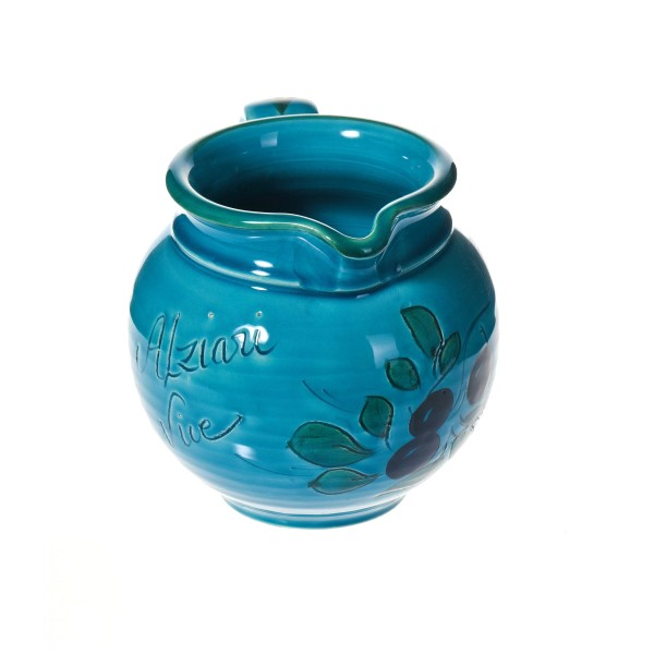 Pichet à eau turquoise  (poterie de Vallauris) 14 cm