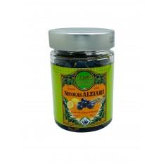 Jar of black olives with lemon zest and fennel 180 g